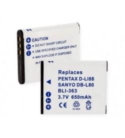 Sanyo DB-L80, D-LI88 3.7V 650mAh replacement batteries