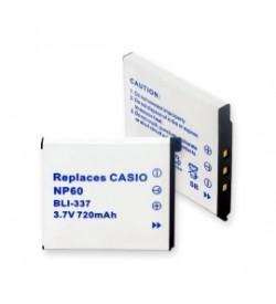 Casio NP-60, BC-60L 3.7V 720mAh replacement batteries